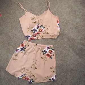 Brown and Floral Shein Two Piece Outfit